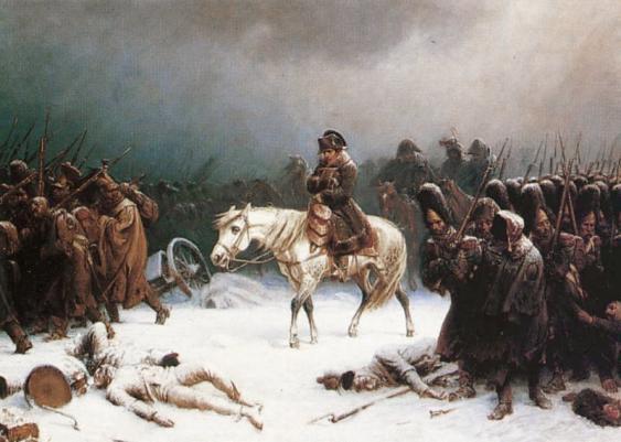 Napoleon auf dem Rückzug, Gemälde von Adolph Northen