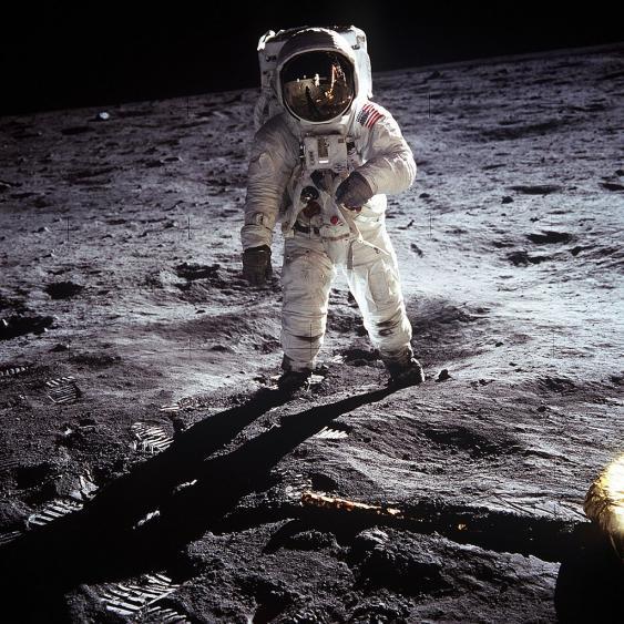 NASA-Astronaut Aldrin auf dem Mond, 1969