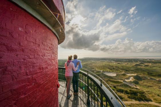 Auf dem Balkon des Amrumer Leuchtturms