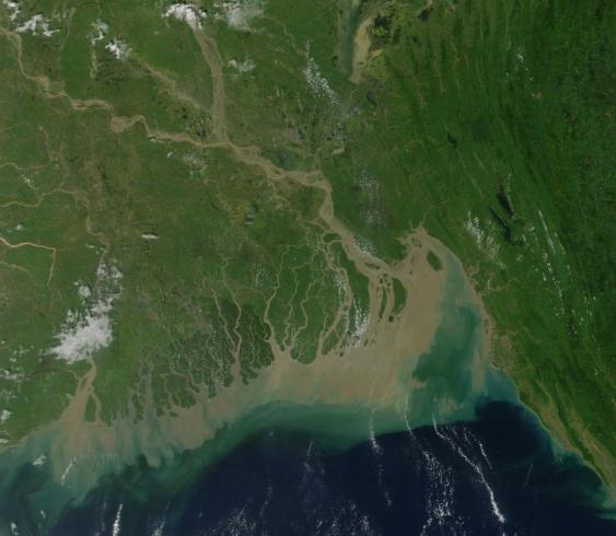 Satellitenaufnahme der Küste von Bangladesh
