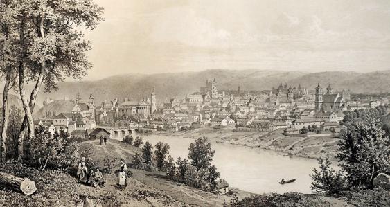 Die spätere litauische Hauptstadt Vilnius in einer Darstellung aus dem 19. Jahrhundert (Blick von Nordwesten aus).