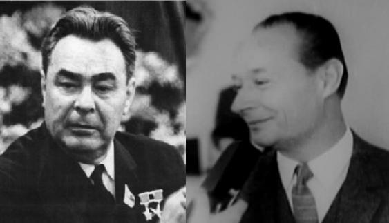 Leonid Iljitsch Breschnew (r.) und Alexander Dubček