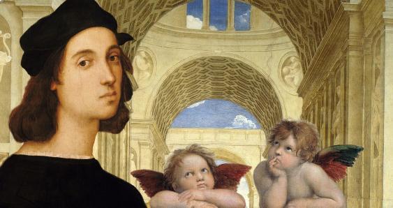 Raffael und die Putten der Sixtinischen Madonna vor dem Hintergrund der Schule von Athen