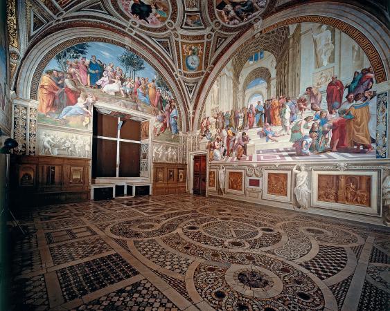 Stanza della Segnatura mit Parnass und Schule von Athen
