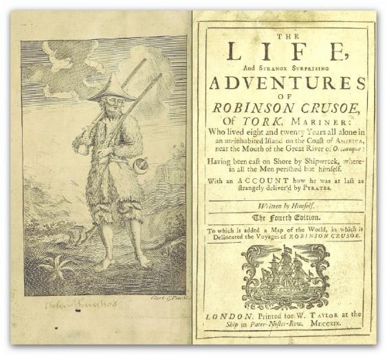 Titelseite der Robinson-Crusoe-Erstausgabe