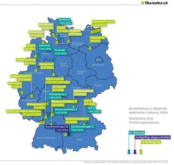 Karte zum Status deutscher Kernkraftwerke
