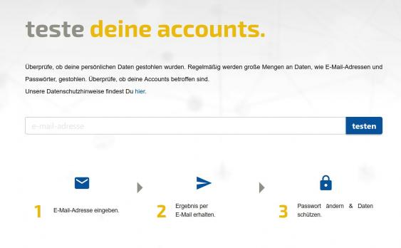 Screenshot des Leakchecker-Startmenüs