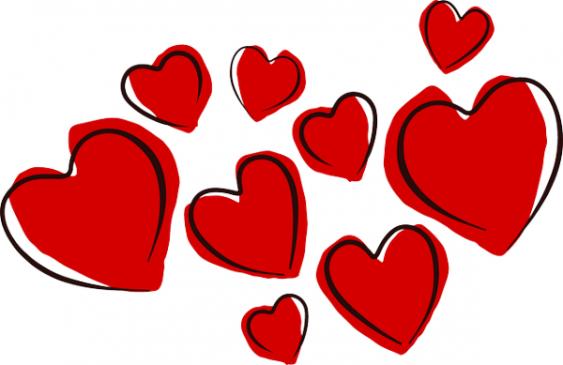 Gezeichnete rote Herzchen