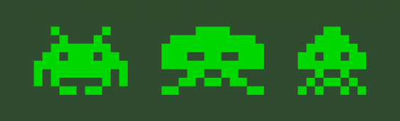 Pixelaliens des DOS-Games Space Invaders