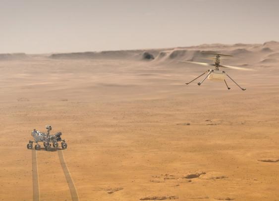 """Mars-Hubschrauber """"Ingenuity"""" im Flug"""