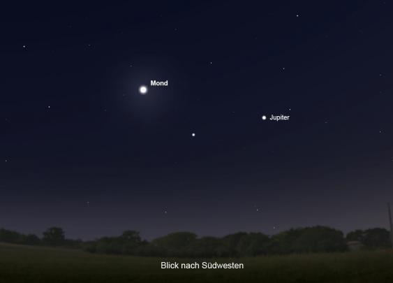 Mond- und Jupiterannäherung