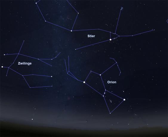 Wintersternbilder Stier und Orion