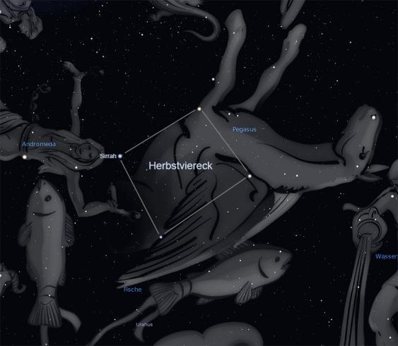 Herbstviereck, bestehend aus drei Sternen des Sternbilds Pegasus und einem aus der Andromeda-Konstellation.
