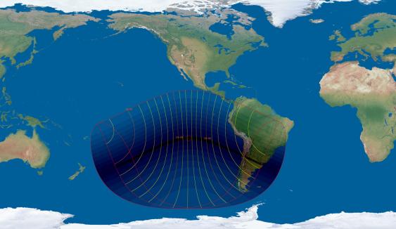 Karte mit dem Gebiet der Sonnenfinsternis am 2. Juli 2019