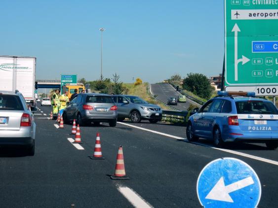 Unfallszene in der Nähe von Rom