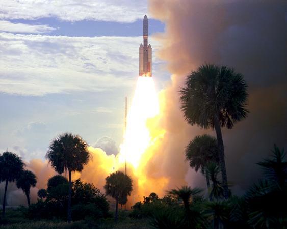 Start der Trägerrakete Titan IIIE mit der Viking-1-Raumsonde in Cape Canaveral