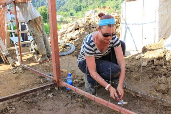 Wiederaufbauhelfer in Nepal
