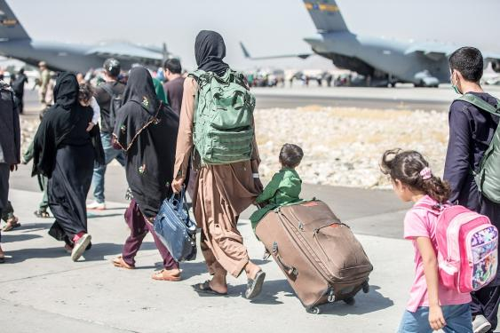 Evakuierung am Hamid Karzai International Airport, Kabul, August 2021