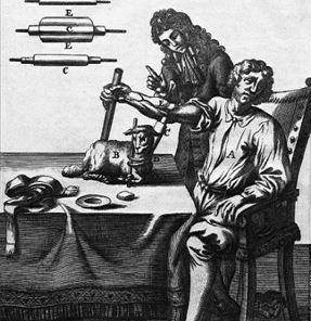 Historische Darstellung  der ersten dokumentierten Bluttransfusion