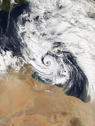 Wirbelsturm Qendresa südlich von Malta, 7. November 2014