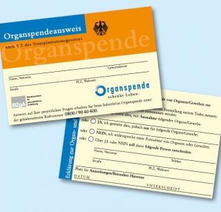 Organspendeausweis der BZgA, Vorder- und Rückseite