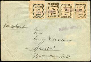 Erste litauische Marken von 1918, mit provisorischem Stempel entwertet.