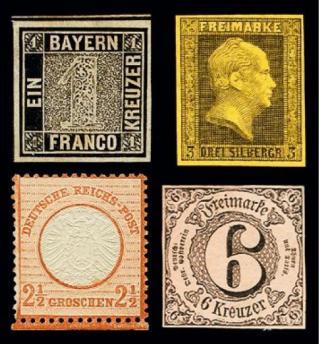 Vier frühe deutsche Briefmarken