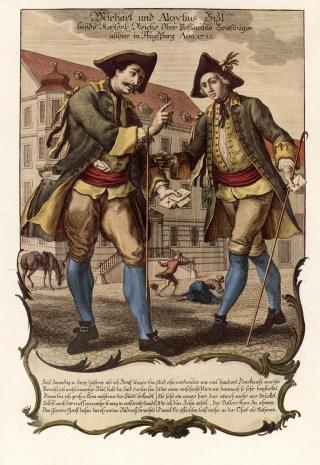 Zwei kaiserliche Postboten in Augsburg im Jahr 1755