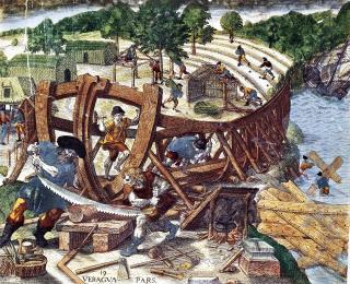 Bau der San Pedor durch die Gonzalo-Pizarro -Expedition, 1541