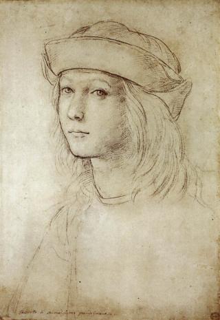 Selbstportät Raffaels, Kreidezeichnung um 1499