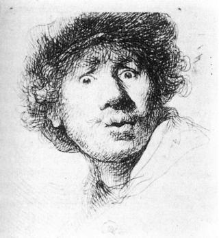 Selbstbildnis, Rembrandt-Radierung von 1630