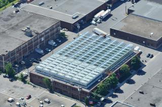 Luftbild der Lufa Farms in Montreal