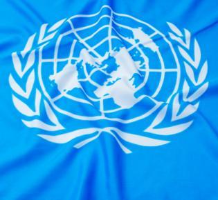 UNO-Symbol auf Flagge