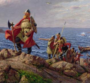 'Leif Erikson entdeckt Amerika' von Hans Dahl (1849-1937)