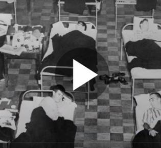 Provisorische Krankenlager während der Asiatischen Grippe
