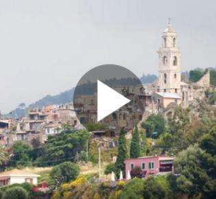 Blick auf Bussana Vecchia, Sanremo, Imperia, Italien
