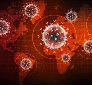 Symbolbild: Weltkarte und Coronaviren