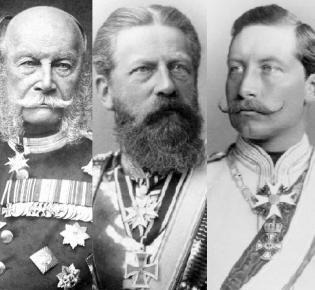 Kaiser Wilhelm I.,  Friedrich III.  und Wilhelm II.
