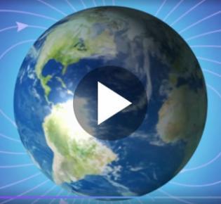 Erdkugel mit Magnetfeldlinien