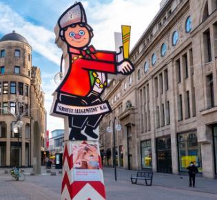 Leere Kölner Innenstadt mit Karne