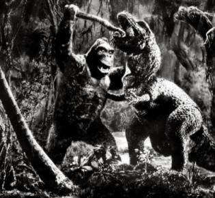 King Kong im Kampf mit einem Tyrannosaurus Tex