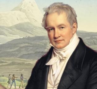 Alexander von Humboldt vor einer Illustration aus einem seiner Werke