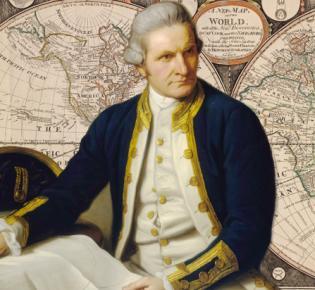 James Cook vor historischer Weltkarte