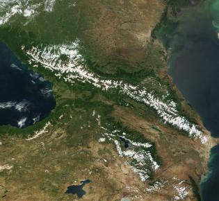 Satellitenaufnahme des Kaukasus