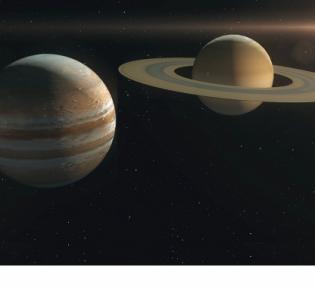 Die beiden Gasriesen Jupiter und Saturn