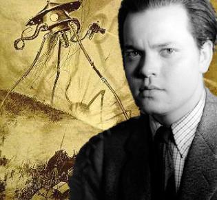 Orson Welles vor Illustration aus Krieg der Welten