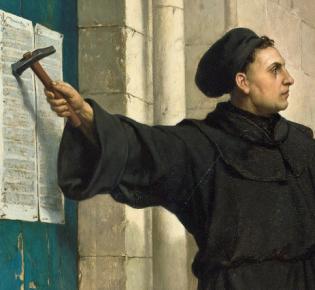 Thesenanschlag an der Schloßkirche zu Wittenberg, Gemälde von Ferdinand Pauwels (1872)