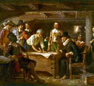 """Unterzeichnung des """"Mayflower Compacts"""" von Jean Leon Gerome Ferris, 1899"""