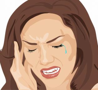 Zeichnung einer Frau mit schmerzverzerrtem Gesicht