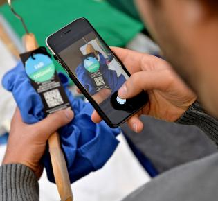 Handy-App beim Einlesen ein QR-Codes